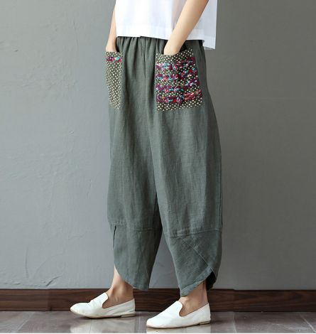 Women's Baggy Linen Wide Leg Pants