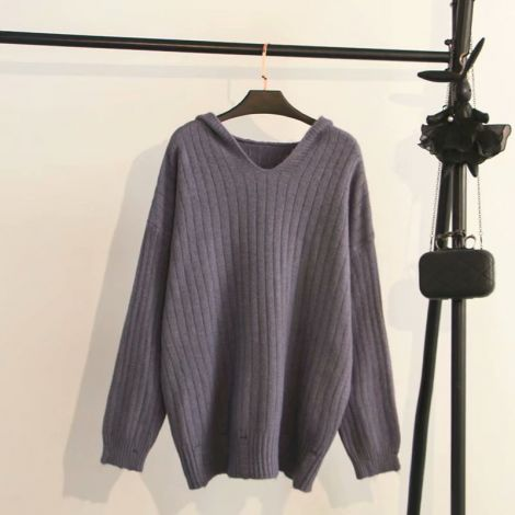 Plus Size Baggy Knitted Sweater Solid Loose Hoodie