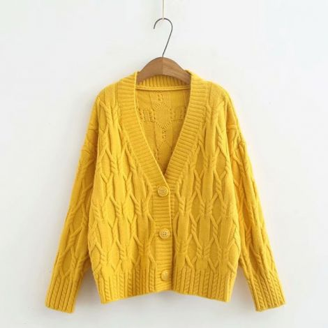 V-Neck Button Down Cardigan Knitted Short Sweater Coat