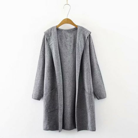 Lightweight Knitted Cardigan Knee Long Sweater Coat Hoodie