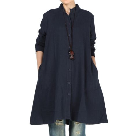 Women's Cotton Linen Full Front Buttons Jacket