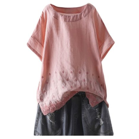 Women's Linen Embroidered Shirt Blouse