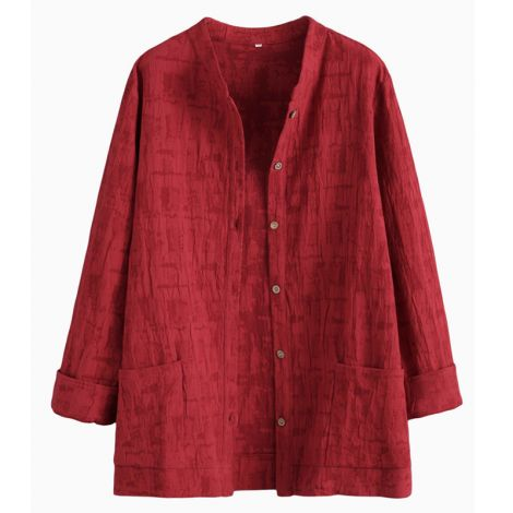 Women's Blouse Outwear Jacket Jacquard Cotton Shirt Tops
