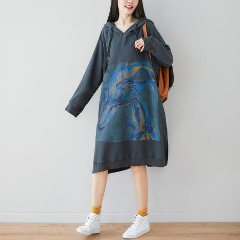 Women's Dress Long Hoodie Loose Pullover Spring/Fall Sweatshirt