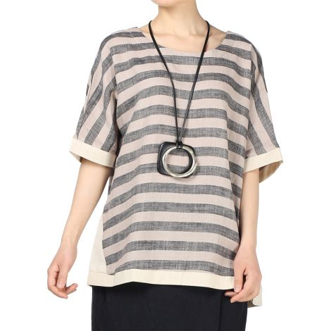 Linen Round Neck Wide Stripe Top