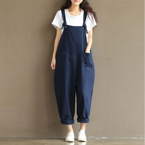Women's Loose Overall Strap Sleeveless Dungarees Jumpsuit Playsuit