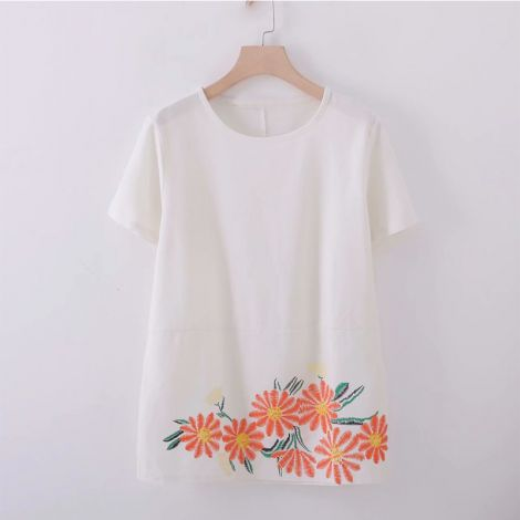 Women's Linen Shirt Blouse Short Sleeve T-Shirt Tops Tunics