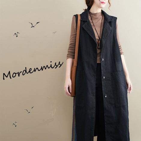 Women's Sleeveless Open Front Cardigan Casual Solid Color Lapel Vest Outwear With Pockets-Black-L