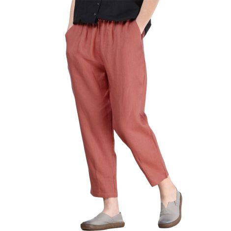 Linen Ankle Pants Capris Cropped Tapered Trousers