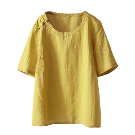 Retro Chinese Frog Button Cotton Linen Tops