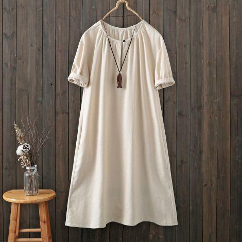 Cotton Linen Short Sleeve Summer Dress Irregular Hem
