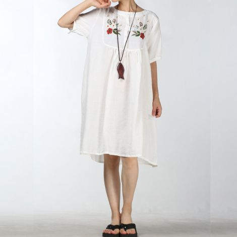 Three Botton Midi Linen Dress with Embroidery Flowers