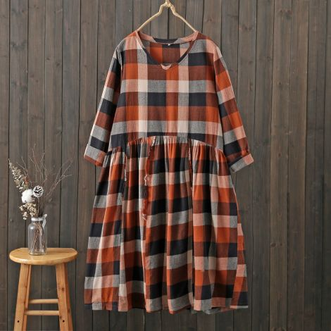 Women Plaid Long Sleeve Plus Size Dress