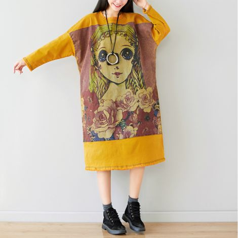 Women's Printed Loose Long Dress with Pockets