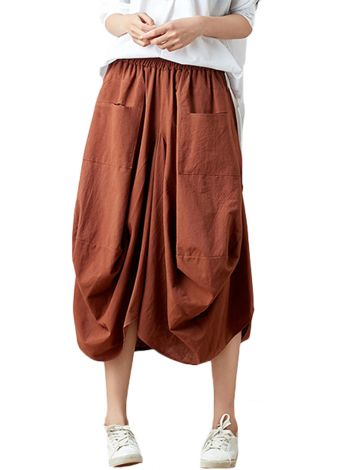 Elastic Baggy Midi Skirts With Two Pockets