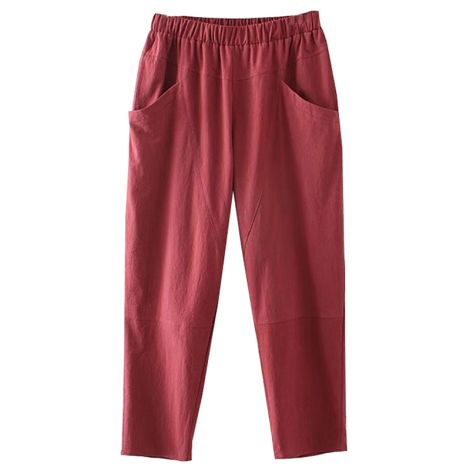 Fall Elastic Waist Casual Pants Trouser with Pockets
