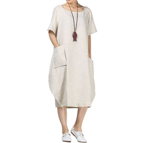 Midi Dress Bubble Hem Tunic w/Hi-low Pockets