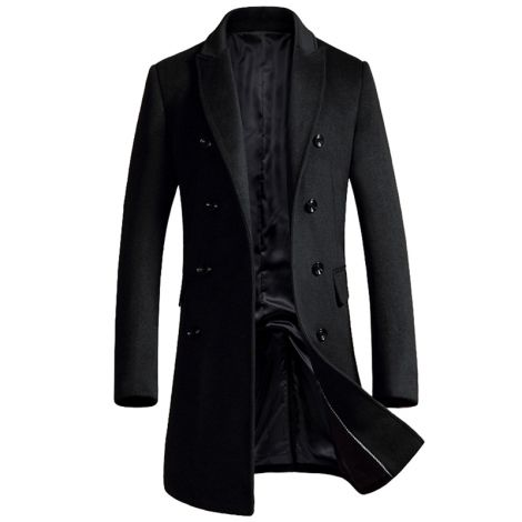 Men's Double Breasted Woolen Pea Coat Overcoat