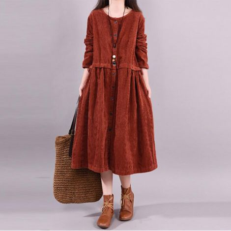 Women's Dress Corduroy Pleated Shirt Dress