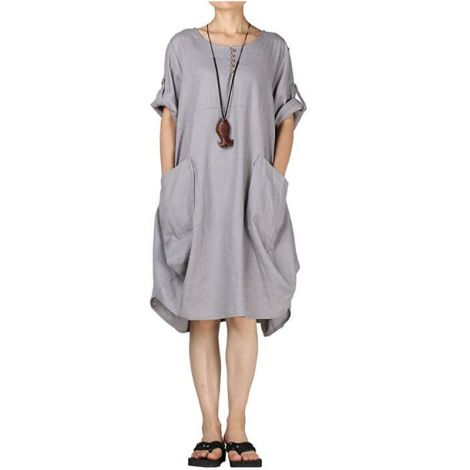 Women's Dresses Summer Roll-up Sleeve Baggy Sundress