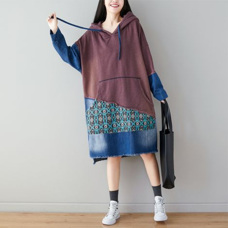 Women's Long Hoodie Sweatshirt Oversized Dress Color Block Pullovers