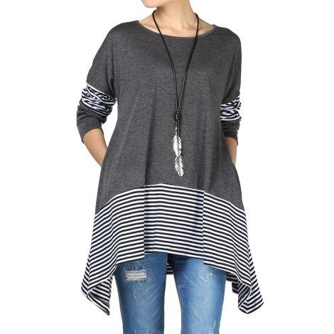Women's Striped Asymmetric Tunic Swing Flowy Plain Top
