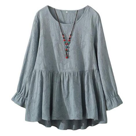 Women's Cotton Tunic Swing Mini Dress Jacquard Blouse
