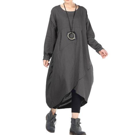 Women's Cotton Linen Dresses Irregular Hem Shirt