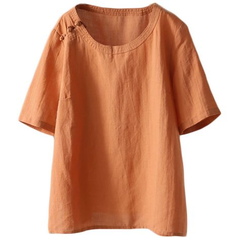Women's Summer Linen Tunic Tops Casual T-Shirt Blouse