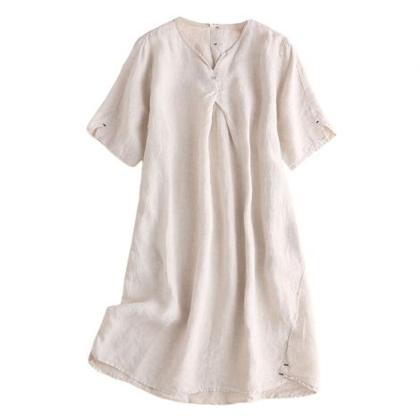 Women's Linen Tunic Dresses V-Neck Baggy Midi Dress