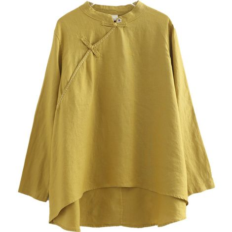 Women's Button Down Linen Embroidered Blouse Casual T Shirt