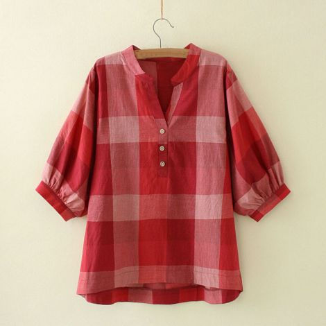 Women's V Neck Plus Size Blouse Plaid High Low T Shirts Tops