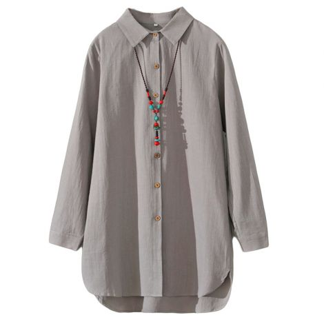 Cotton Shirt Dress Button Down Blouse Hi-low Loose Top