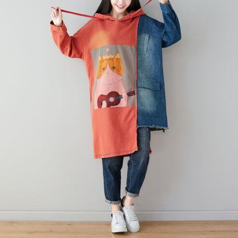 Women's Long Hoodie Printing Baggy Dress Tunic Jacquard Pullovers