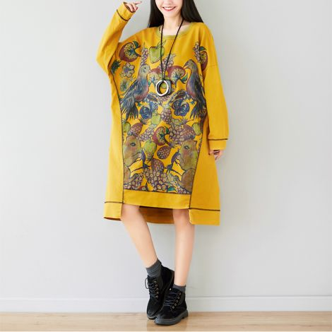 Women's Printing Baggy Dress Loose Tunic Pullover