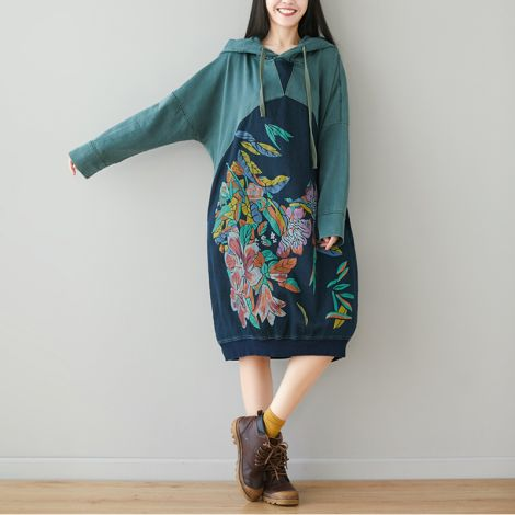 Women's Long Hoodie Dress Baggy Tunic Jacquard Pullovers