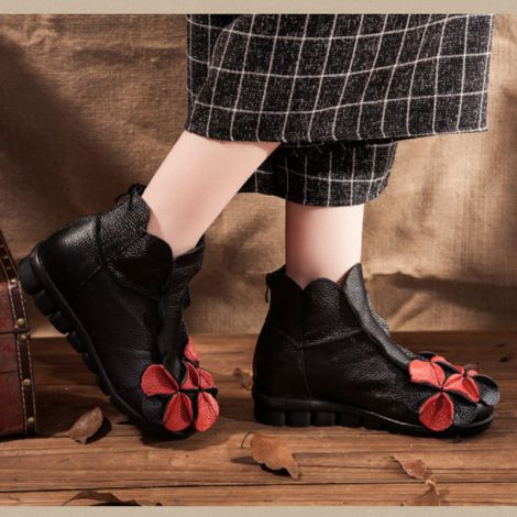 Handmade Flower Shoes Retro Leather Ankle Booties