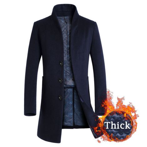 Trench Coat Long Wool Blend Fleece Jacket Overcoat