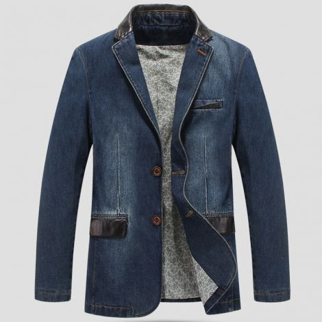 Denim Slim Fit Jacket Button Down Distressed Jeans Coat