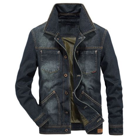 Denim Sport Coat Distressed Lapel Blazer Jeans Jacket
