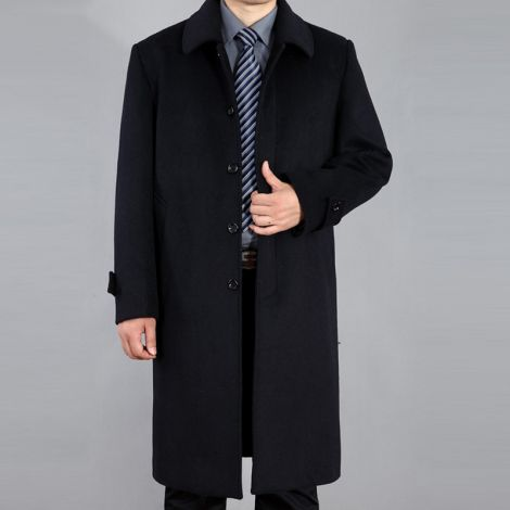 Wool Single Breasted Jacket Long Trench Coat Outerwear