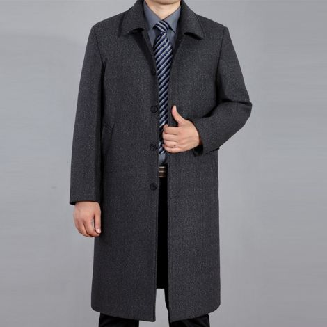 Wool Long Trench Coat Outerwear Casual Single Breasted Jacket