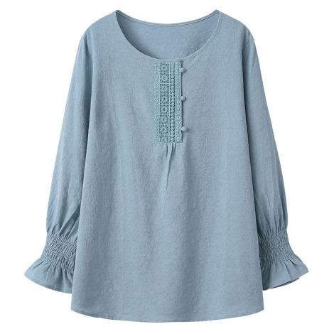Casual Cotton Tunic Long Sleeve Blouse Jacquard Tops A-line Shirt