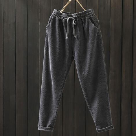 Corduroy Elastic Waist Pants Straight Trouser Crop Pants