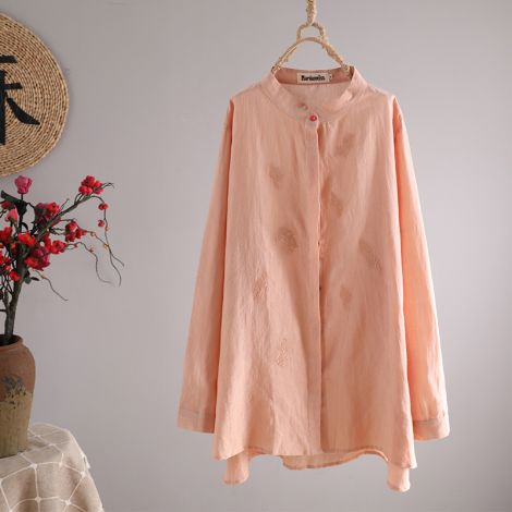 Button Down Shirt Cotton Linen Embroidered Blouse