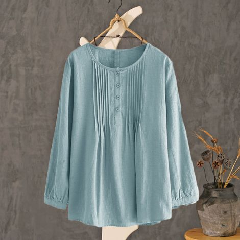Scoop Neck Pleated Blouse Lovely Button Tunic Shirt