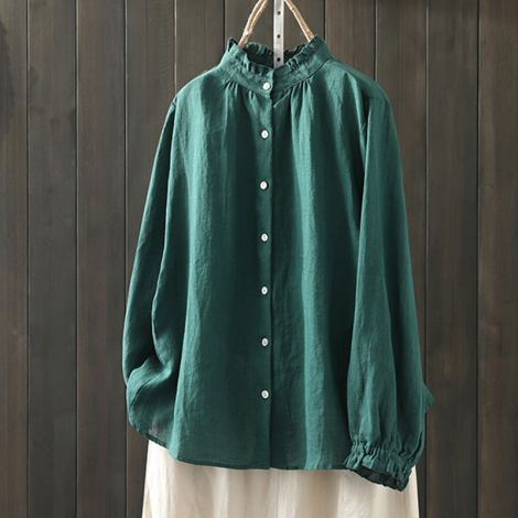 Button Down Shirts Long Sleeve Linen Tops Loose Casual Blouses