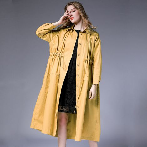 Plus Size Cotton Long Trenchcoat Casual Lightweight Blouse