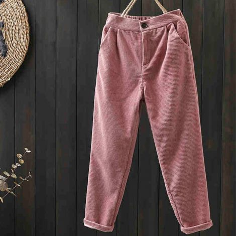 Corduroy Tapered Ankle Pants Casual Straight Crop Trouser