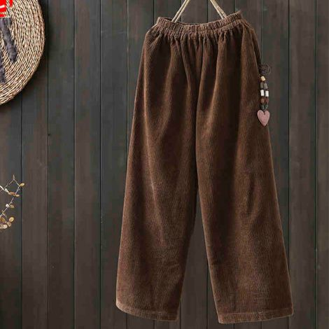 Corduroy Wide Leg Pants Casual Straight Loose Trouser